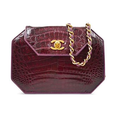 Chanel Purple Alligator Mini Evening Bag, Late 20th Century